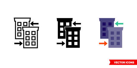 Related companies icon of 3 types. Isolated vector sign symbol.