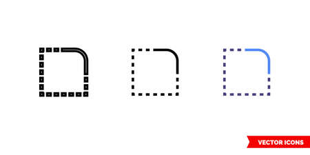 Rounded corner icon of 3 types. Isolated vector sign symbol. 向量圖像