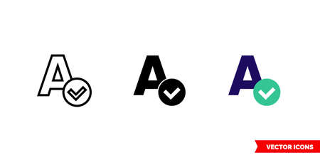 Spellcheck icon of 3 types. Isolated vector sign symbol.