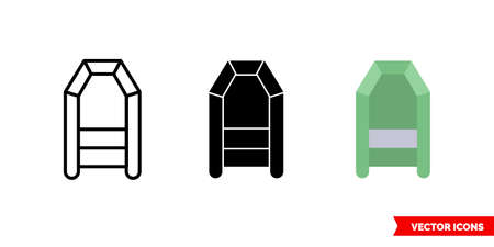 Rubber boat icon of 3 types. Isolated vector sign symbol.