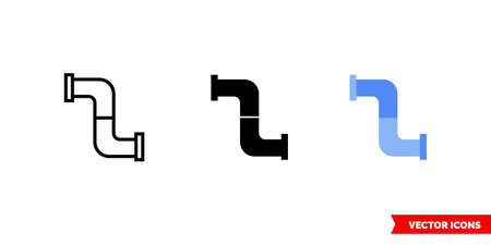 Water pipe icon of 3 types. Isolated vector sign symbol.