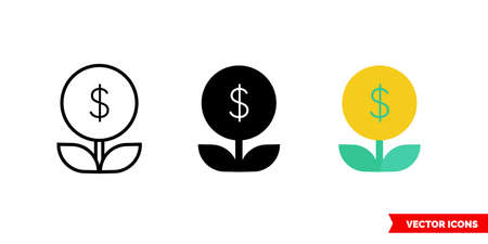 Weak financial growth icon of 3 types. Isolated vector sign symbol.