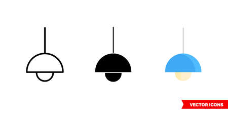 Lighting icon of 3 types color, black and white, outline. Isolated vector sign symbol.