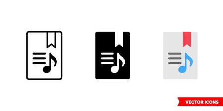 Lyrics icon of 3 types color, black and white, outline. Isolated vector sign symbol.