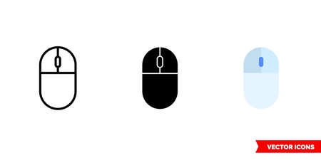 Mouse icon of 3 types color, black and white, outline. Isolated vector sign symbol. 矢量图像