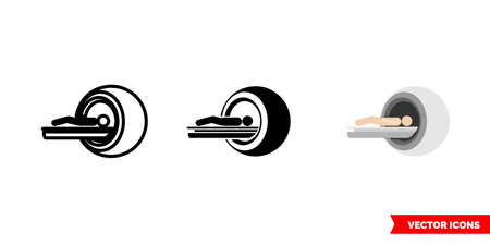 MRI imaging modalities icon of 3 types color, black and white, outline. Isolated vector sign symbol. Ilustracja