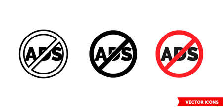 No ads icon of 3 types color, black and white, outline. Isolated vector sign symbol.