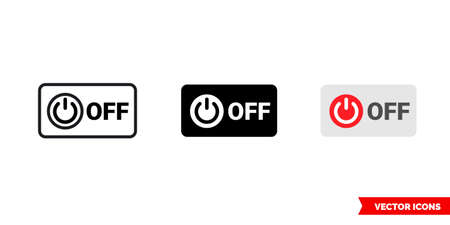 Off symbol icon of 3 types color, black and white, outline. Isolated vector sign symbol.
