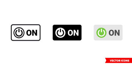 ON symbol icon of 3 types color, black and white, outline. Isolated vector sign symbol.