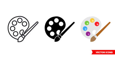 Palette with brush icon of 3 types color, black and white, outline. Isolated vector sign symbol.