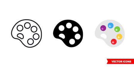 Palette icon of 3 types color, black and white, outline. Isolated vector sign symbol. Ilustração
