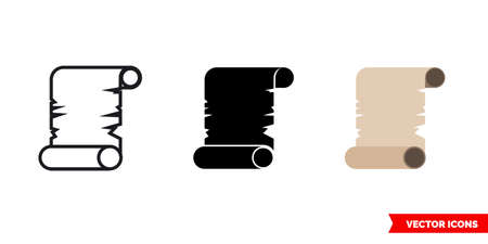 Papirus icon of 3 types color, black and white, outline. Isolated vector sign symbol. 矢量图像
