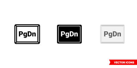 PgDn button icon of 3 types color, black and white, outline. Isolated vector sign symbol. 矢量图像