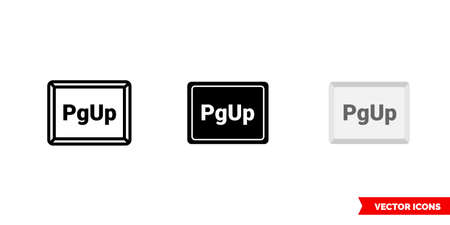PgUp button icon of 3 types color, black and white, outline. Isolated vector sign symbol.