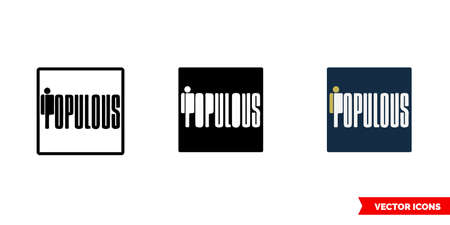 Populous cryptocurrency icon of 3 types color, black and white, outline. Isolated vector sign symbol. Illusztráció