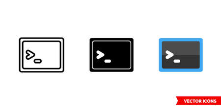 Program icon of 3 types color, black and white, outline. Isolated vector sign symbol.