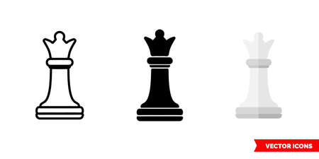 Queen chess icon of 3 types color, black and white, outline. Isolated vector sign symbol.