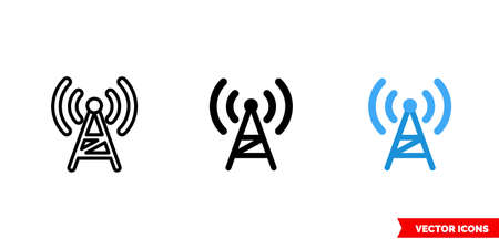 Radio icon of 3 types color, black and white, outline. Isolated vector sign symbol. 矢量图像