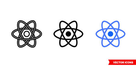 React icon of 3 types color, black and white, outline. Isolated vector sign symbol.