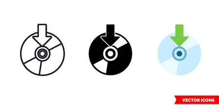 Record to disk burn icon of 3 types color, black and white, outline. Isolated vector sign symbol.