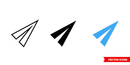 Send icon of 3 types color, black and white, outline. Isolated vector sign symbol.