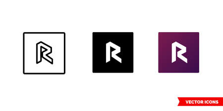 Revain cryptocurrency icon of 3 types color, black and white, outline. Isolated vector sign symbol.