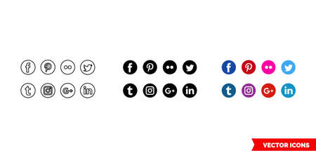 Social icon of 3 types color, black and white, outline. Isolated vector sign symbol. Ilustração