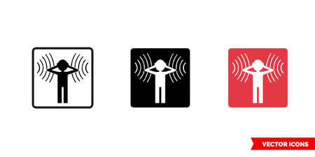Symbol of noise icon of 3 types color, black and white, outline. Isolated vector sign symbol. Ilustração