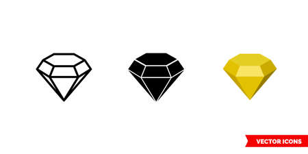 Topaz symbol icon of 3 types color, black and white, outline. Isolated vector sign symbol. 矢量图像