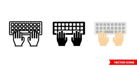 Typing icon of 3 types color, black and white, outline. Isolated vector sign symbol.