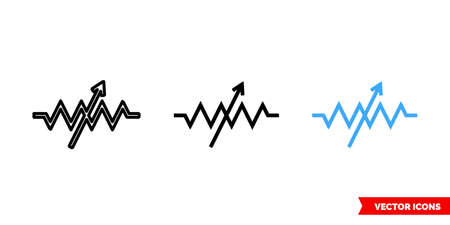 Variable resistor symbol icon of 3 types color, black and white, outline. Isolated vector sign symbol. 矢量图像