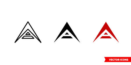 Ark cryptocurrency icon of 3 types color, black and white, outline. Isolated vector sign symbol.