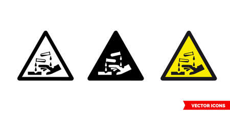 Corrosive symbol warning icon of 3 types color, black and white, outline. Isolated vector sign symbol. 向量圖像