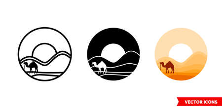 Egypt desert icon of 3 types color, black and white, outline. Isolated vector sign symbol.