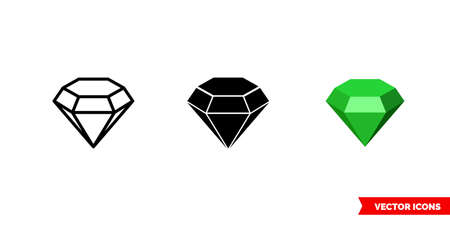 Emerald symbol icon of 3 types color, black and white, outline. Isolated vector sign symbol.