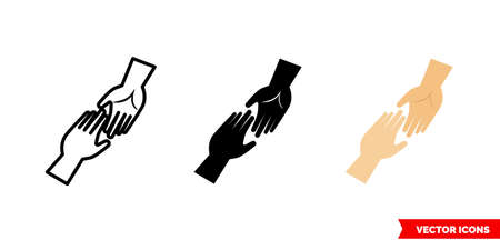 Help icon of 3 types. Isolated vector sign symbol. Two hands reaching out to each other.