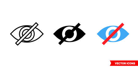 Invisible symbol icon of 3 types. Isolated vector sign symbol. Crossed out eye. Ilustración de vector