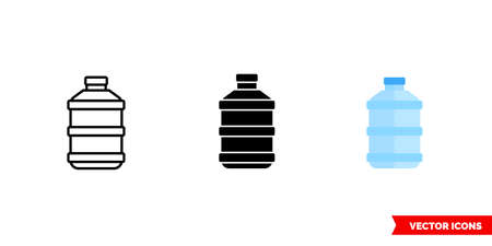 Bottle of water icon of 3 types. Isolated vector sign symbol.