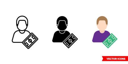 Footballer icon of 3 types. Isolated sign symbol. Ilustracja