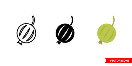 Gooseberry icon of 3 types. Isolated sign symbol.