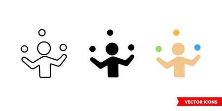 Juggler icon of 3 types. Isolated sign symbol. Vektorové ilustrace