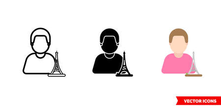Parisian icon of 3 types. Isolated vector sign symbol. Иллюстрация