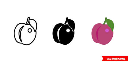Plum icon of 3 types. Isolated vector sign symbol.