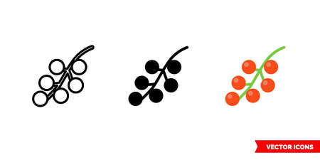 Redcurrant icon of 3 types. Isolated vector sign symbol.