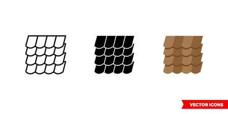 Roof shingles icon of 3 types. Isolated vector sign symbol.