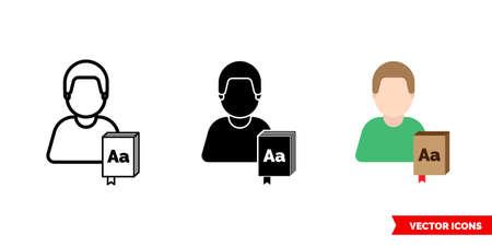Translator interpreter icon of 3 types. Isolated vector sign symbol.
