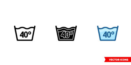Water temperature 40C icon of 3 types color, black and white, outline. Isolated vector sign symbol.