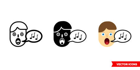 Vocals icon of 3 types color, black and white, outline. Isolated vector sign symbol. 向量圖像