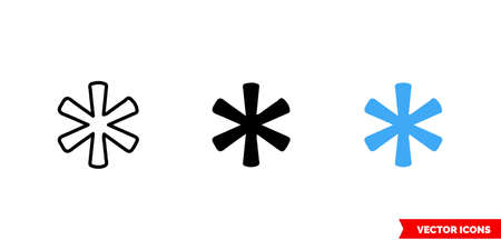 Asterisk symbol icon of 3 types. Isolated vector sign symbol.
