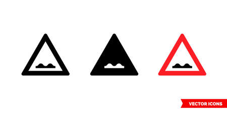 Bumpy road sign icon of 3 types. Isolated vector sign symbol.